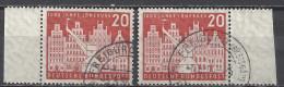 Deutschland BRD 1956 Mi 230 X2 Je Vom Linken + Rechten Rand, 20 Pfg., Gestempelt, 1000 Jahre Lüneburg, Sc. 741 / Yv. 106 - Used Stamps