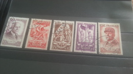 LOT 271600 TIMBRE DE FRANCE OBLITERE N�576 A 580 VALEUR 92,5 EUROS