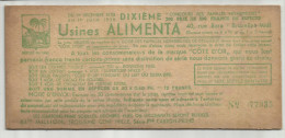 -1 X Premiekaart  . - ***CÔTE D´OR - Fabrieken ALIMENTA - 1935/1936. *** - Chocolat