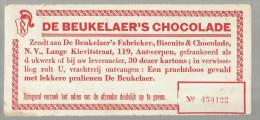 -1 X Waardekarton  . - ***DE BEUKELAER'S CHOCOLADE. *** - Chocolat