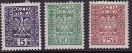 POLAND 1928 Fi 242-44 Mint Hinged - Ongebruikt
