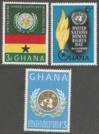 Ghana. 1960 Human Rights Day. MH Complete Set. SG 253-255 - Ghana (1957-...)