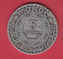 F3724A / - 5 Francs - 1370 / 1950  -  Morocco Maroc Marokko  - Coins Munzen Monnaies Monete - Marruecos