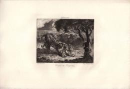 Tigre Et Serpent - Eau-forte D´après Eugènbe DELACROIX (Saint-Maurice 1798 - Paris 1863) - FRANCO DE PORT - Estampas & Grabados