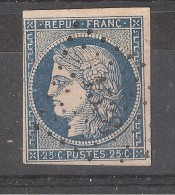 CERES N° 4 A, 25 C BLEU FONCE Obl Pc 1538 De INGOUVILLE , Seine Maritime, INDICE 19 , RRR - 1849-1850 Ceres