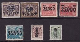 POLAND 1923 Ovpts Fi 167-71 Mint Hinged - Ongebruikt