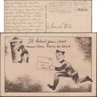 Pays-Bas 1940. Carte De Franchise Militaire. Bande Dessinée. Soldat Court Pour Poster Sa Lettre Gratuite Maintien Mollet - Bandes Dessinées