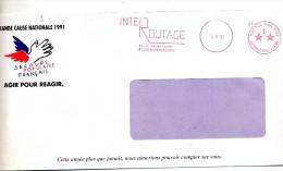 Lettre Flamme Ema Port Paye Paris D Inter Routage Entete Secours Populaire - Poststempel (Briefe)