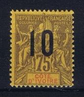 COTE D´IVOIRE  Yv  Nr 40 A Chiffres Espace  MH/* Avec Charniere - Ivoorkust (1892-1944)
