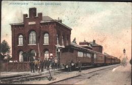 QUEVY AULNOIS -  Frontière - La GARE Avec Train Et Cheminots - Quévy