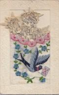 Matériaux - Carte  Brodée à Pochette - 4 Fleurs Edelweiss Séchées - Cartes Postales