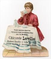 Chromo  Festonnée Gaufrée Chicorée Lerville Lille Bouchain Jeune Femme Enfant Dinette Goûter Boisson Tasse Cafetière - Unclassified