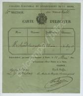 Carte D'électeur De Louis-Gabriel Michaud, Libraire à Paris Rue De Cléry. 4e Section Au Vauxhall. 1822. - Documentos Históricos