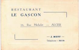 Vieux Papiers- Carte De Visite - Restaurant Le Gascon Rue Michelet Alger - Tarjetas De Visita