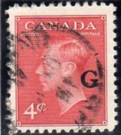 Canada GVI 1950-2 ´G´ Official 4c Carmine Value, Fine Used - Overprinted