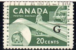 Canada QEII 1955-62 ´G´ Official 20c Value, Good Used - Officials