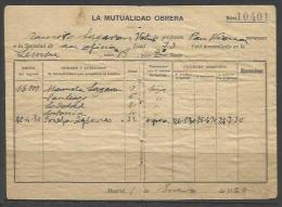 Q173-DOCUMENTO LA MUTUALIDAD OBRERA,SINDICATO,MADRID,1921.HOJA COTIZACIÓN EN REVERSO. - Manuscritos