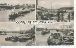 9450 - CONFLANS-STE-HONORINE - LES PENICHES SUR LA SEINE ( 4 VUES - Péniche : YVONNE ) - Conflans Saint Honorine