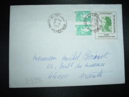 LETTRE TP LIBERTE DE GANDON 1,70 ROULETTE Sur PORTE TIMBRE ALBERT SAUVANET + SABINE 0,20 X2 OBL.12-6-1985 ORVAULT (44) - 1982-90 Liberté De Gandon