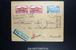 REUNION:  1937 Poste Aérienne Surchargé Roland Garros PAIRE RRR  R-lettre Premier Liaison LAURENT - TOUGE - LENIER PILOT - Réunion (1852-1975)