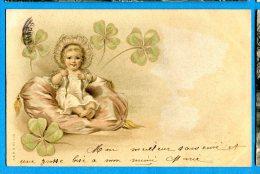 U207,  Belle Fantaisie, Bébé, Trèfle, Précurseur ,circulée 1905 - Babies