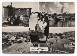 Ile D'YEU--Multivues (chateau,Port-Joinville,Port De La Meule)--cpsm 15 X 10 N°1582 éd CAP - Ile D'Yeu