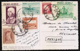 G)1953 PERU, ISABEBELLA-FISHES-BOAT-WORKERS HOUSES-NATIONAL EDUCATION-FLEET OF COLUMBUS, AIRMAIL, CIRCULATED POSTACRD TO - Peru