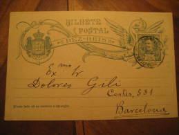 Portalegre 1907 To Barcelona Spain Bilhete Postal Stationery Card Portugal - Enteros Postales