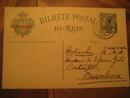 Faro 1911 To Barcelona Spain Overprinted Republica Bilhete Postal Stationery Card Portugal - Cartas