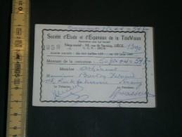 Carte Membre De La SOCIETE D'ETUDE ET D'EXPANSION DE LA TELEVISION - BURTON Fernand, Seraing, 1958 - Vieux Papiers