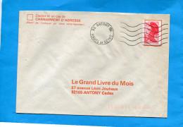 MARCOPHILIE-FRANCE-lettre Commerciale- Cad Muet -92 Antony-stamp 2.10 Frs Liberté De Gandon - Marcophilie (Lettres)