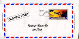 Enveloppe Publicitaire Fantasie Avec Timbre Imprimé,avion,le Pays Ou La Vie Est Moins Chére - Fantasy Labels