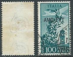 1949-52 TRIESTE A USATO POSTA AEREA CAMPIDOGLIO 100 LIRE FILIGRANA LETTERA - L2 - Posta Aerea