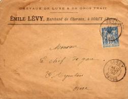Sorcy-St-Martin (55-Meuse) Emile Lévy Marchand De Chevaux De Luxe Et De Gros Trait Judaïca 1900 Type Sage 15c Bleu - 1877-1920: Période Semi Moderne