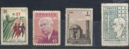 "Turkey 1957 Pres. Heuss Of Germany, 1958 Ataturk 20th Anniv Death, 1968 Konya, 1961 60k, ""Progress - 1921-... República"