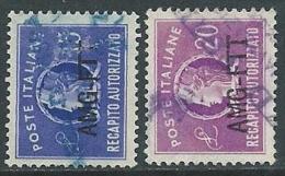1949-52 TRIESTE A USATO RECAPITO AUTORIZZATO 1 RIGA 2 VALORI - L2 - 7. Triest