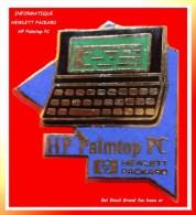 SUPER PIN´S INFORMATIQUE : HP HEWLETT PACKARD, Palmtop PC émaillé Grand Feu Base Or - Informatica