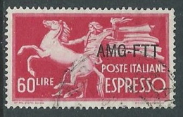 1950 TRIESTE A USATO ESPRESSO DEMOCRATICA 1 RIGHE 60 LIRE - L18 - 7. Triest