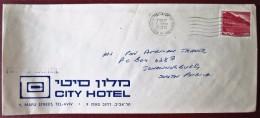 HOTEL CITY ATLAS TEL AVIV TOURISM TRAVEL AGENCY TOUR ORIGINAL CACHET AIR MAIL POST STAMP  LETTER ENVELOPE ISRAEL - Hotel Labels