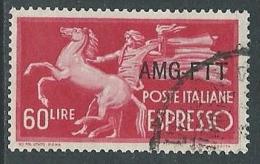 1950 TRIESTE A USATO ESPRESSO DEMOCRATICA 1 RIGHE 60 LIRE - L2 - 7. Triest