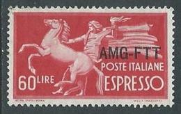 1950 TRIESTE A USATO ESPRESSO DEMOCRATICA 1 RIGHE 60 LIRE - L4 - 7. Triest