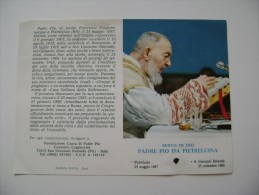 SANTO PADRE PIO DA  PETRALCINA   CON RELIQUIA DOPPIA PAGINA    ORIGINAL VINTAGE IMAGE PIEUSES Relique Reliquiario Relic - Santini