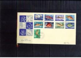 Yugoslawien / Yugoslavia / Yougoslavie 1956 Michel 795-803 Sea Animals FDC - Covers & Documents