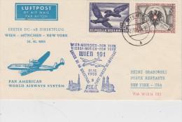 AUTRICHE 1955 VOL VIENNE - MUNICH - NEW YORK - 1945-.... 2ème République