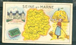 Carte De Seine Et Marne  - Pastille Salmon - Meilleur Huile De Foie De Morue L(huile Salver ... MALA6513 - Trade Cards