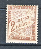 Chiffre Taxe, 1884, Y&T N. 26, 2 Franchi Marrone, MH Molto Fresco - Taxes