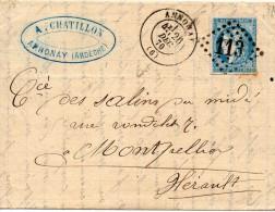 N°46 Sur Lettre DANNONAY  Avec Gros Chiff. 113 - 1870 Emission De Bordeaux