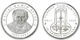 AC - CALLIGRAPHER HAMID AYTAC COMMEMORATIVE SILVER COIN 2006 TURKEY PROOF UNCIRCULATED - Turkey