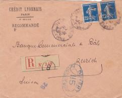 15389# SEMEUSE PERFORE CL PERFIN LETTRE CENSURE CONTROLE POSTAL MILITAIRE Obl PARIS 1917 ZURICH SUISSE SWITZERLAND - Poststempel (Briefe)