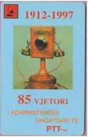 Télécarte Albanie  °°  Telekomi  50  Impulse  :-.   PTT Téléphone 1912/1997  .  85  Vjetori  .  1997 - Albanie